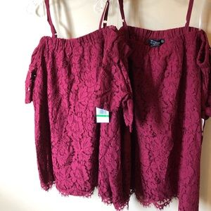 NWT adorable lace off the shoulder blouse